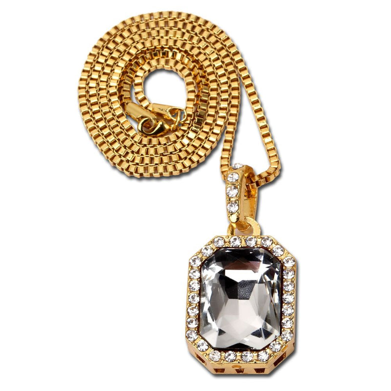 8.00 CT White Topaz Gemstone Icedout Pendant with Diamond Cut Chain in 18K Gold Filled