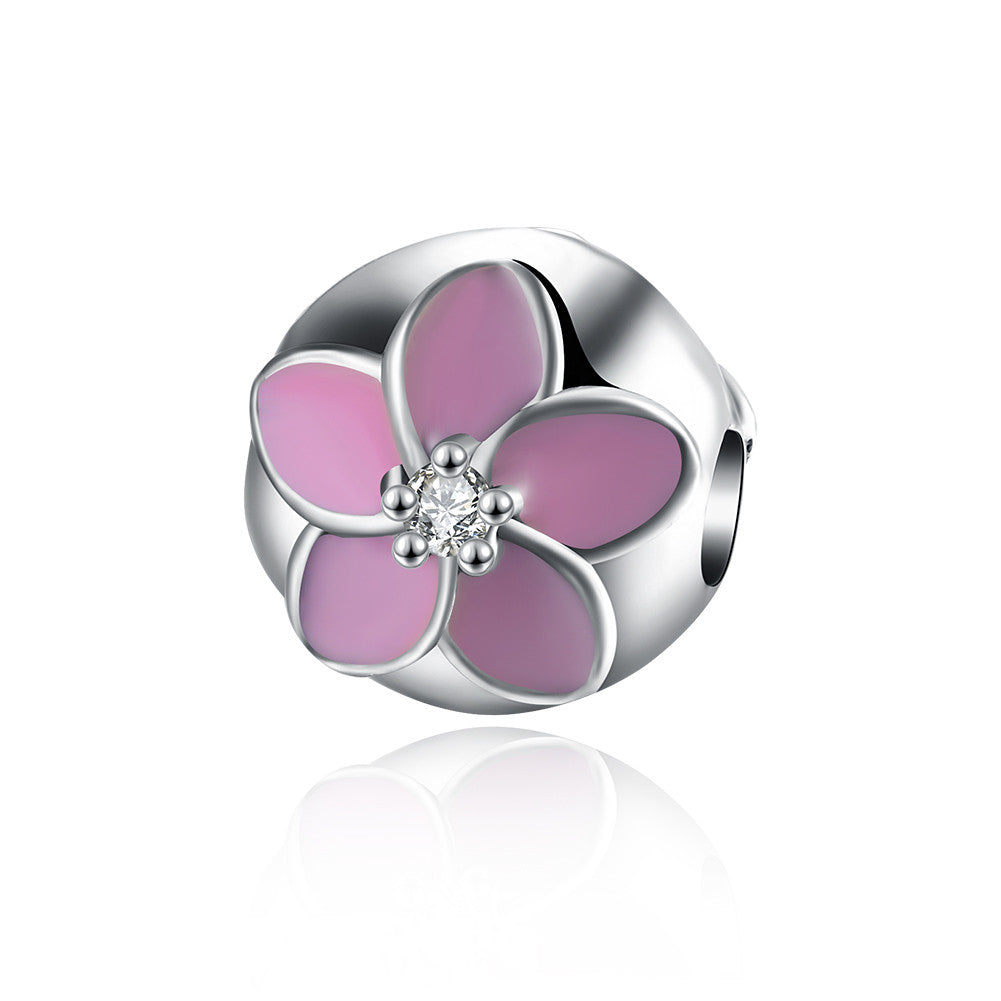 Sterling Silver Pink Daisy Charm - Golden NYC Jewelry www.goldennycjewelry.com fashion jewelry for women
