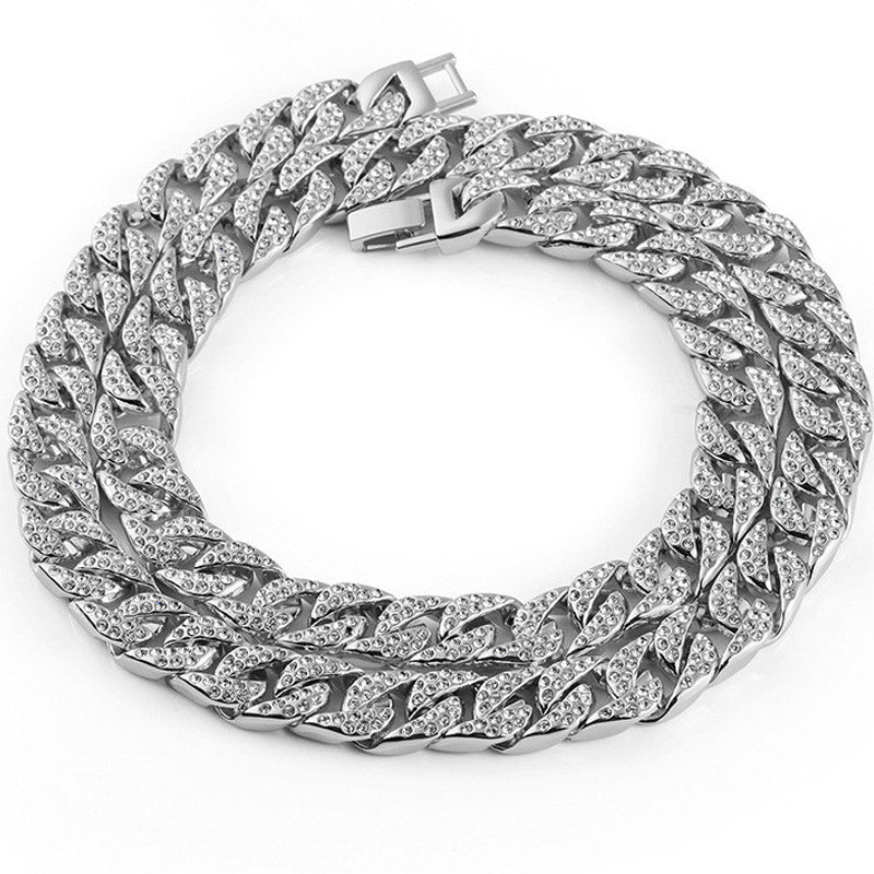 Diamond Cut Curb 18K White Gold Plated Iced Out 14mm Chain