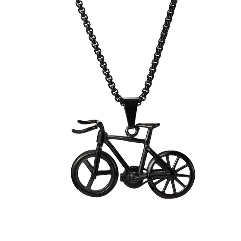 Crusin with my Bike Necklace in 18K Black Gold Filled with Chain