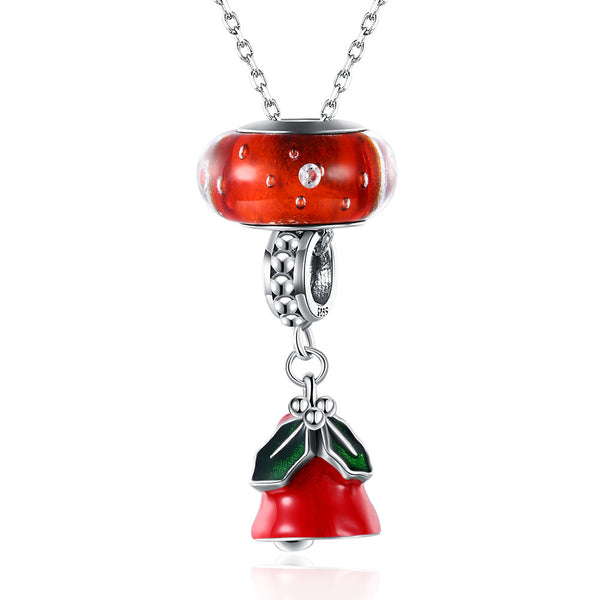 Sterling Silver 2 Piece Necklace- Christmas Red