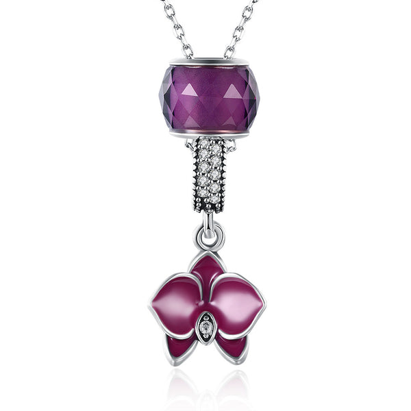 Sterling Silver 2 Piece Necklace- Purple Floral Passion