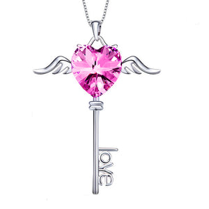 Austrian Crystals Pink Topaz Flying is the Key to Love  Necklace