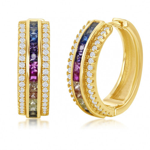 18K Gold Plated Rainbow Swarovski Pav'e Hoop Earrings - 2 Styles