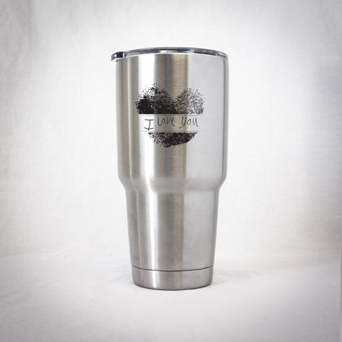 Insulated Tumbler - Fingerprint Heart with Handwritten Message