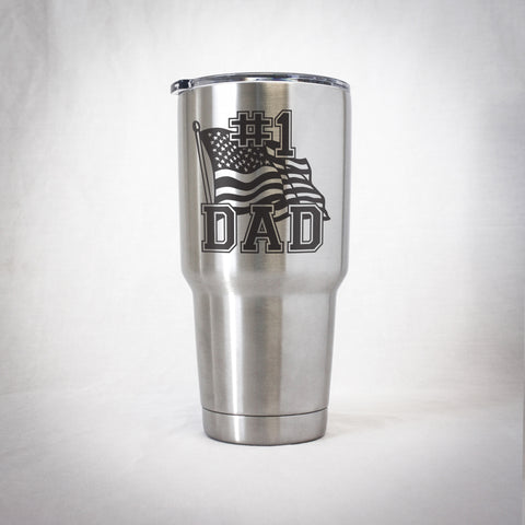 Insulated Tumbler - #1 Dad - American Flag