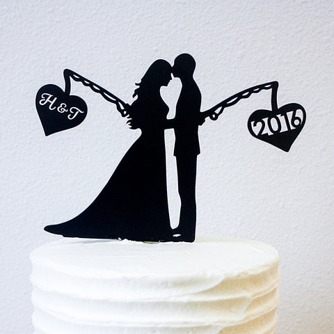 Cake Topper - Fishing Hearts
