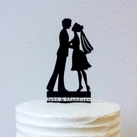 Cake Topper - Silhouettes (Almost) Kiss - Personalized