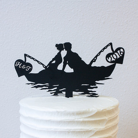 Cake Topper - Fishing Boat and a Kiss