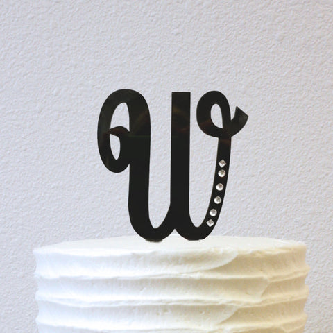 Cake Topper - Cursive Initial with Jewels