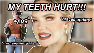 ADULT BRACES UPDATE, mom jeans experience, trying new makeup that just launched // immallorybrooke