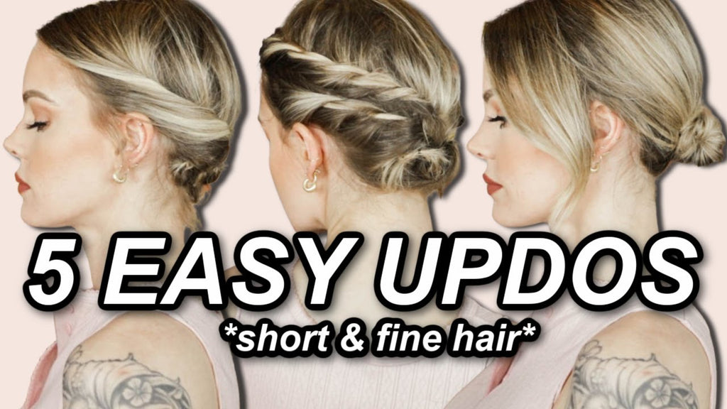 FIVE UPDOS FOR SHORT FINE HAIR *easy no-braid braids & updos* // @ImMalloryBrooke