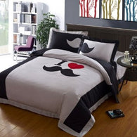 Grey Mustache Bedding Set,Cute Beard Bedding Set,Queen Size Bed Sets,4Pcs