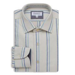 Heavy White & Blue Stripe Brushed Cotton Shirt