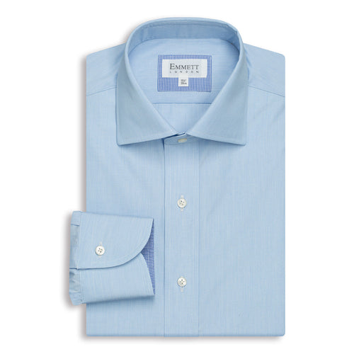 Blue Poplin Anti-Wrinkle Shirt