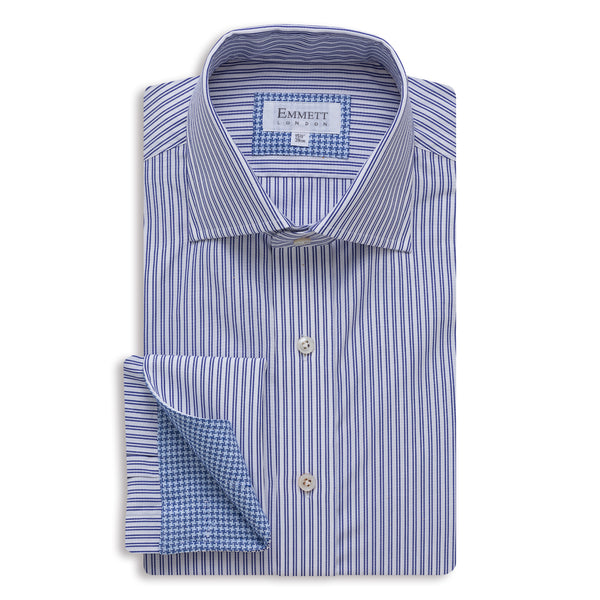 Double Blue Stripe Shirt - Emmett London - Jermyn Street & Kings Road Shirtmakers