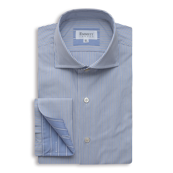 White & Blue Fine Striped Shirt