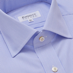 Super 140s Blue Fine Stripe Shirt - Emmett London - Jermyn Street & Kings Road Shirtmakers