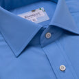 120s Mid Blue Poplin Shirt - Emmett London - Jermyn Street & Kings Road Shirtmakers