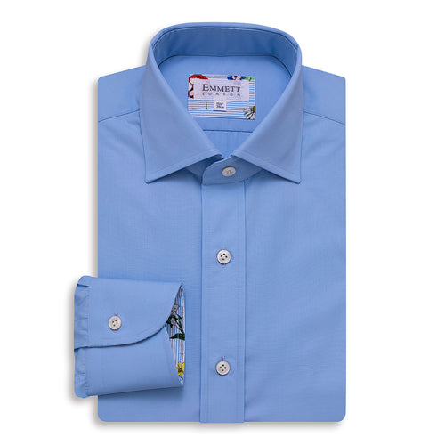 120s Light Blue Poplin Shirt