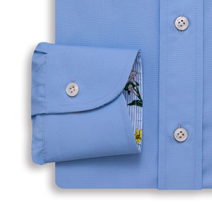 120s Light Blue Poplin Shirt - Emmett London - Jermyn Street & Kings Road Shirtmakers