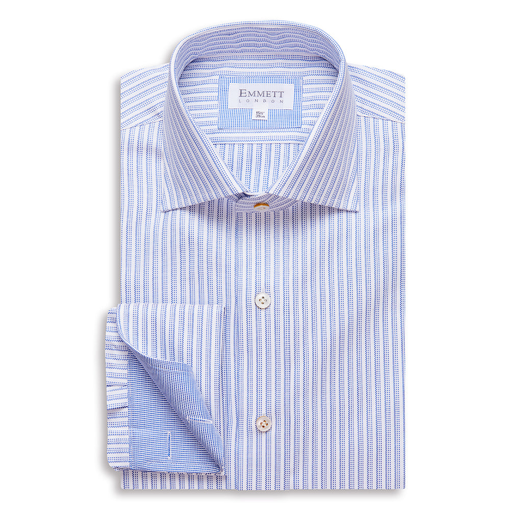 Unique Blue On White Striped Oxford Shirt
