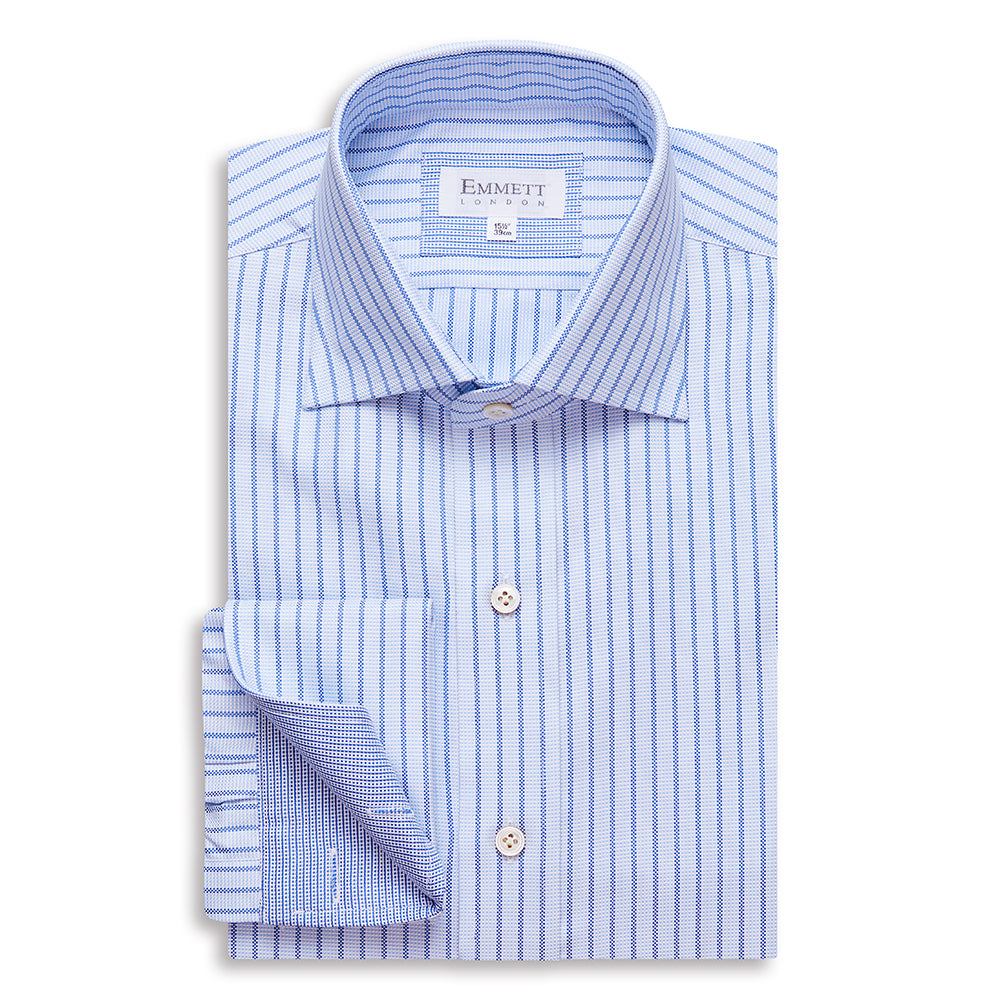 Blue On Blue Striped Oxford Shirt - Emmett London - Jermyn Street & Kings Road Shirtmakers