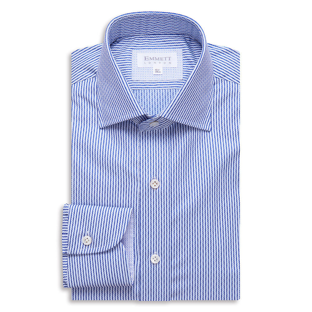 Textured Blue Stripe Shirt