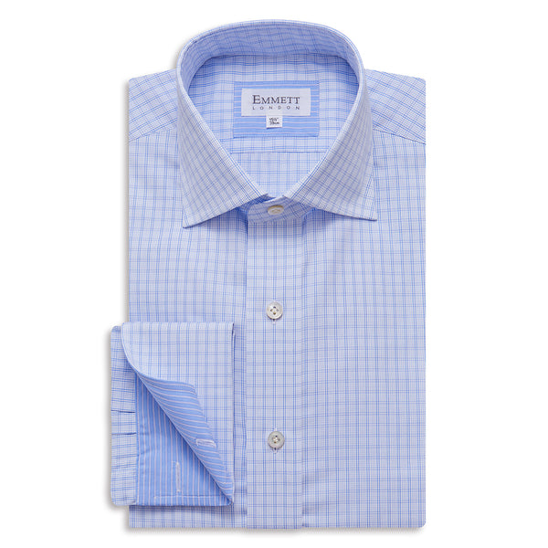 Window Pane Blue Check Shirt