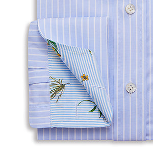 Thin Blue And White Striped Pin Point Shirt - Emmett London - Jermyn Street & Kings Road Shirtmakers