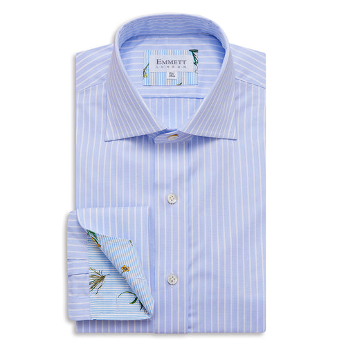 Thin Blue And White Striped Pin Point Shirt