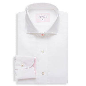 White Fine Cotton Linen Twill Shirt - Emmett London - Jermyn Street & Kings Road Shirtmakers