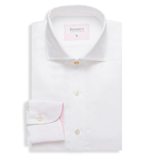 White Fine Cotton Linen Twill Shirt