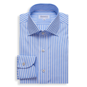 Blue Savoy Stripe Shirt - Emmett London - Jermyn Street & Kings Road Shirtmakers