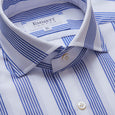 Multi Blue Stripe On A Honey Comb Weave Shirt - Emmett London - Jermyn Street & Kings Road Shirtmakers