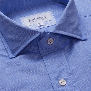 Light Blue Cotton Linen Special Weave Shirt - Emmett London - Jermyn Street & Kings Road Shirtmakers