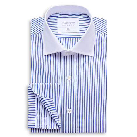 Dark Blue Stripe Contrast Collar Shirt
