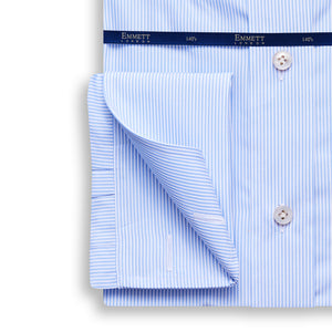 Fine Blue Striped Poplin 140s Shirt