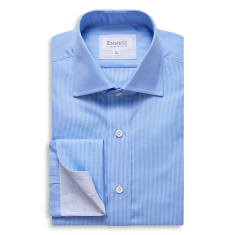 Cobalt Blue Twill and Double White Stripe Shirt