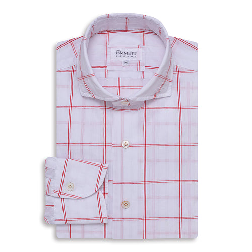 Red Check Textured Shirt
