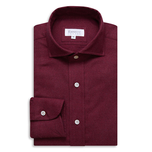 Burgundy Brushed Cotton Shirt