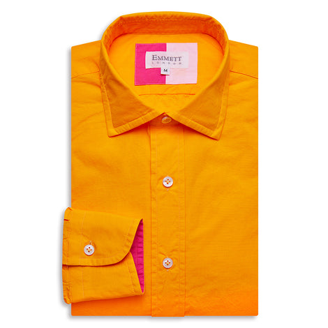 Orange Poplin Shirt - Emmett London - Jermyn Street & Kings Road Shirtmakers