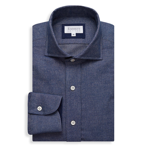 Aviator Blue Brushed Cotton Cashmere Shirt - Emmett London - Jermyn Street & Kings Road Shirtmakers