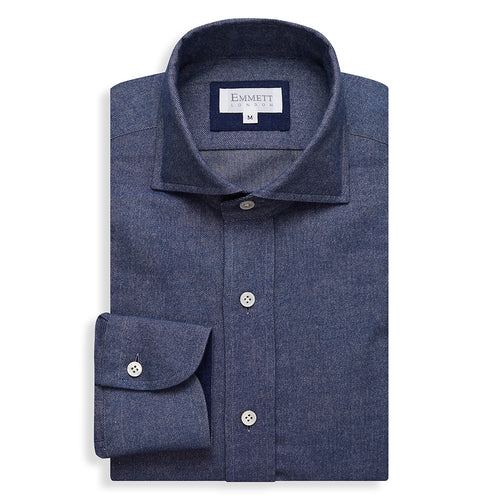 Aviator Blue Brushed Cotton Cashmere Shirt