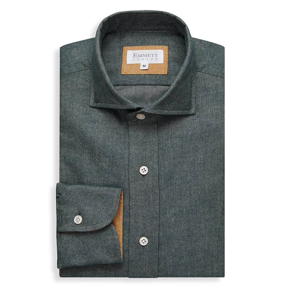 Forest Green Brushed Cotton Cashmere Shirt - Emmett London - Jermyn Street & Kings Road Shirtmakers