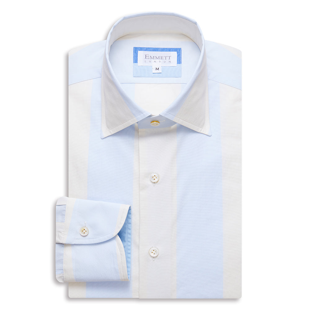 Wide Light Blue Striped Shirt - Emmett London - Jermyn Street & Kings Road Shirtmakers