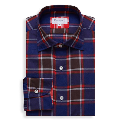 Dark Blue Country Check Shirt - Emmett London - Jermyn Street & Kings Road Shirtmakers