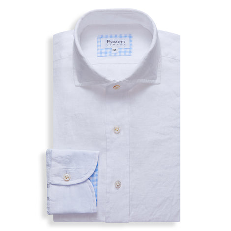 White Linen Shirt - Emmett London - Jermyn Street & Kings Road Shirtmakers