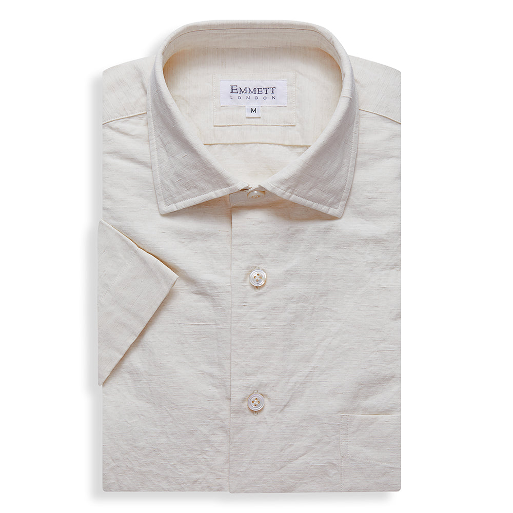 White Cotton Linen Short Sleeve Shirt