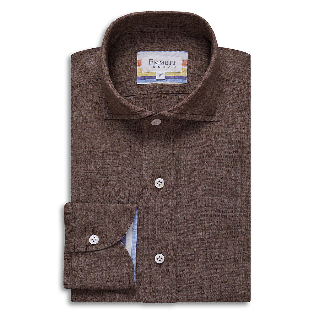 Brown Linen Shirt - Emmett London - Jermyn Street & Kings Road Shirtmakers